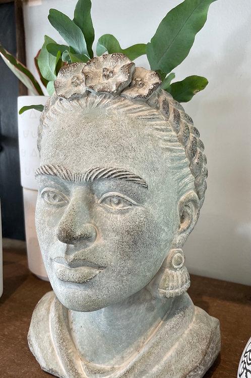 "Classic Concrete Frida Kahlo Pot (10"" ht, 4"" opening"