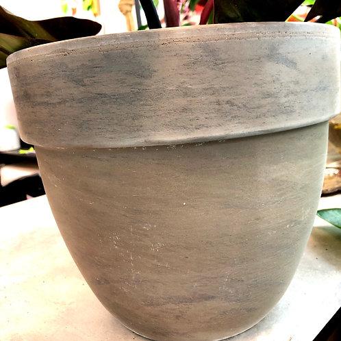 "Terracotta Grey/ Brown Brushed 10"" pot"