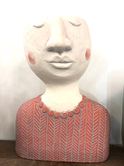 """Head Pot/ Peach Sweater( 9"""" tall- 4"""" opening at top)"""