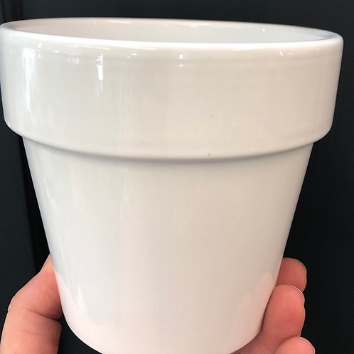 White Pot with Rim 4""