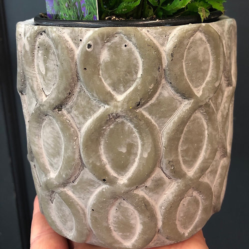 Patterned Concrete Pot 4""