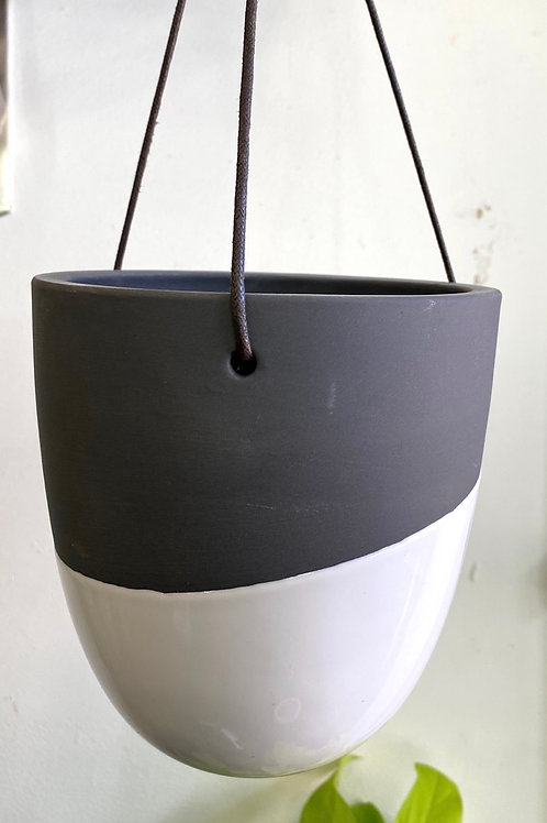 "Dark Grey/White Hanging Pot (fits 4-5"" pot inside)"