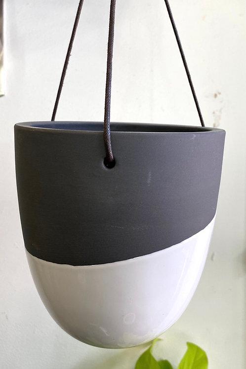 "Dark Grey/White Hanging Pot (fits 4-5"" pot inside)"