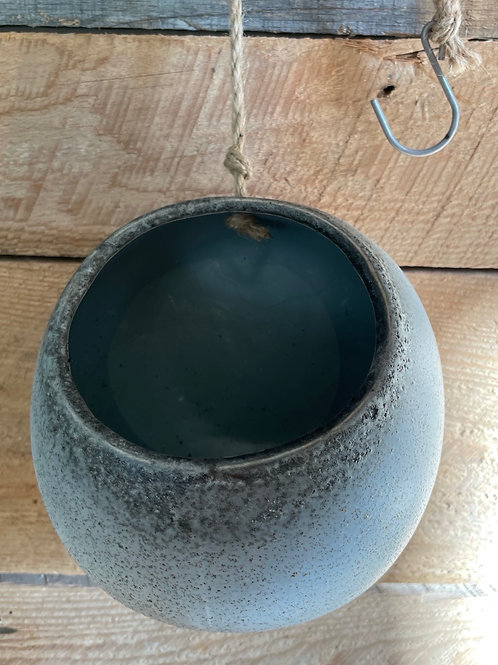 Grey / Cream Hanging Pot/ with flat back
