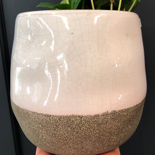 "Speckled White/ Sand 4"" pot"
