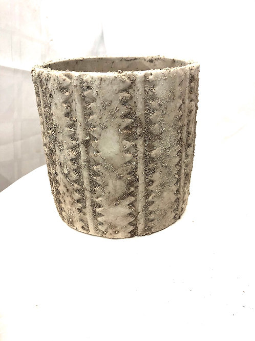 Rough Textured Patterned Pot 7""