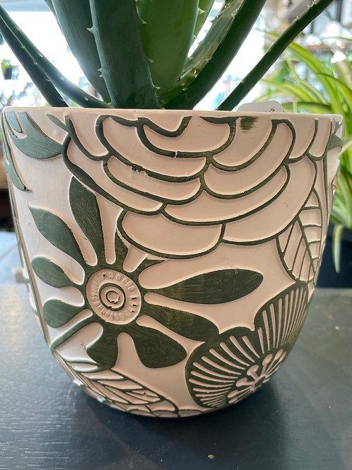 """Green Flowers Pot 6"""""""