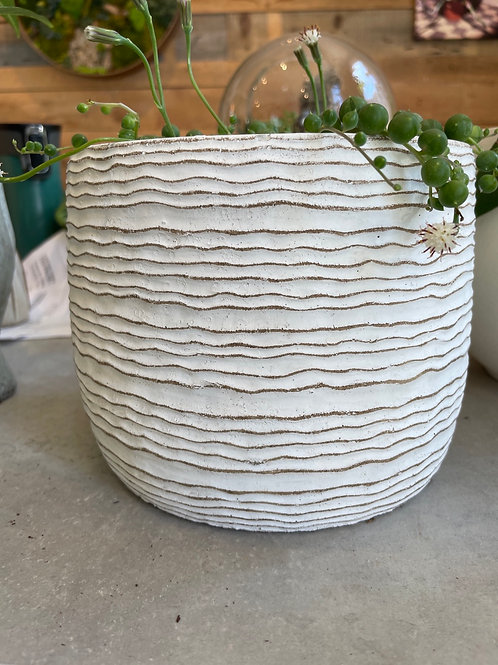 Cream Wave Pot 6""