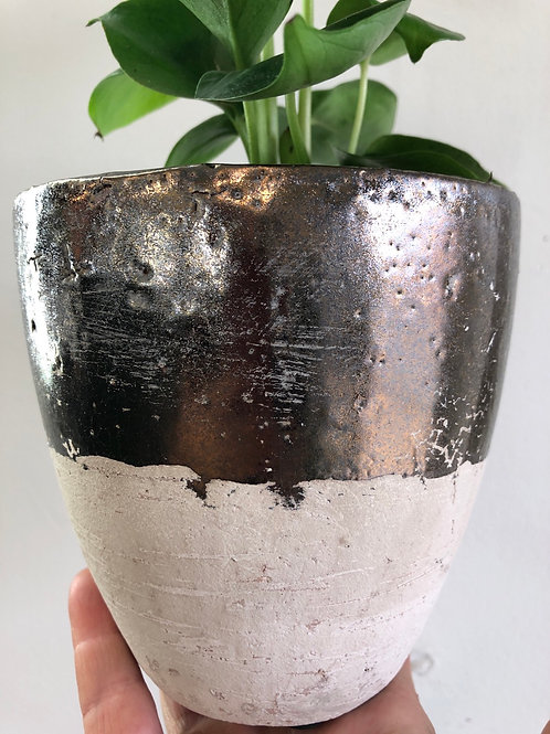 Rustic Pot / Brass Glaze 4""