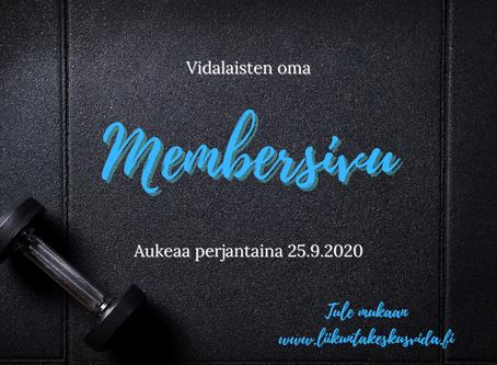 Membersivu aukeaa 25.9.2020
