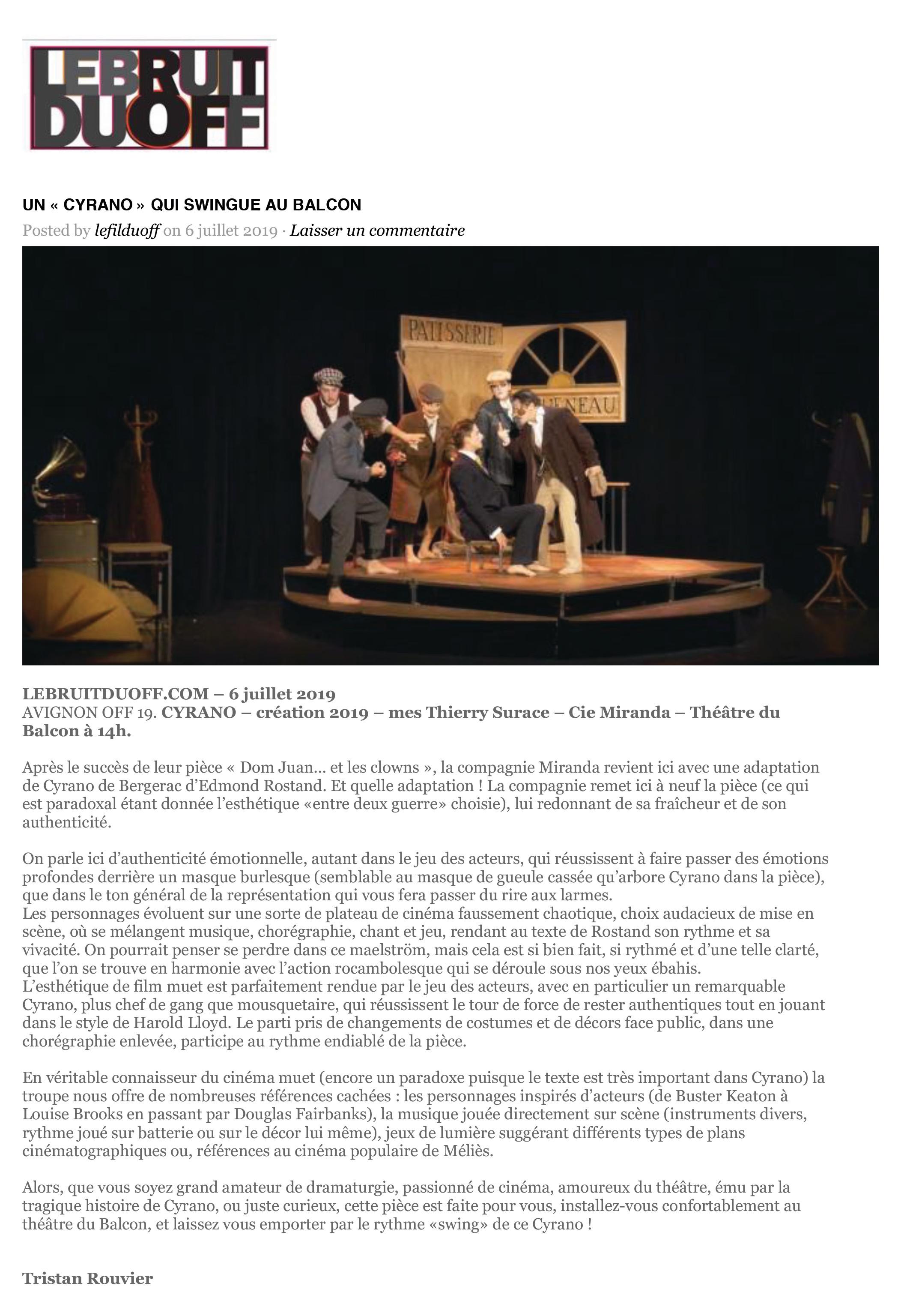 Bruit du Off - Avignon 2019 - Cyrano