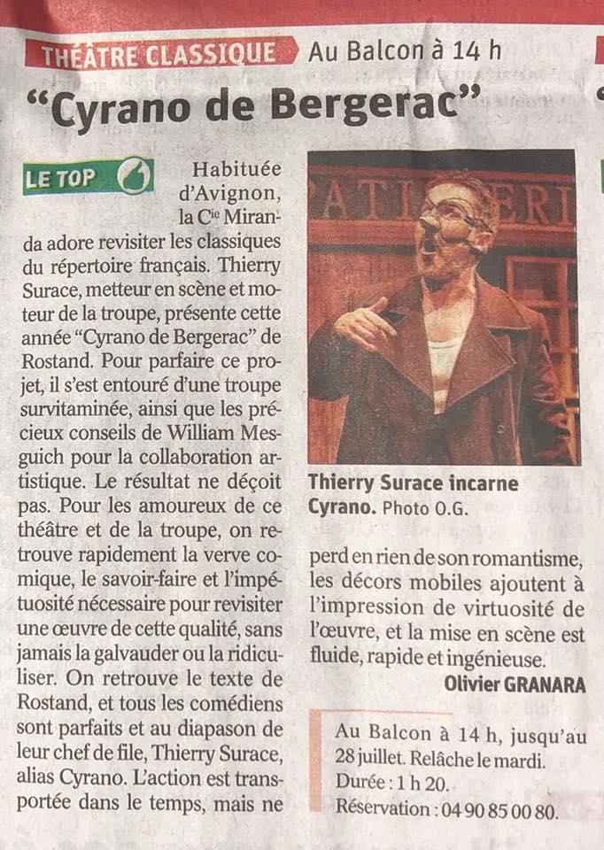 Vaucluse Matin - Avignon 2019 - Cyrano