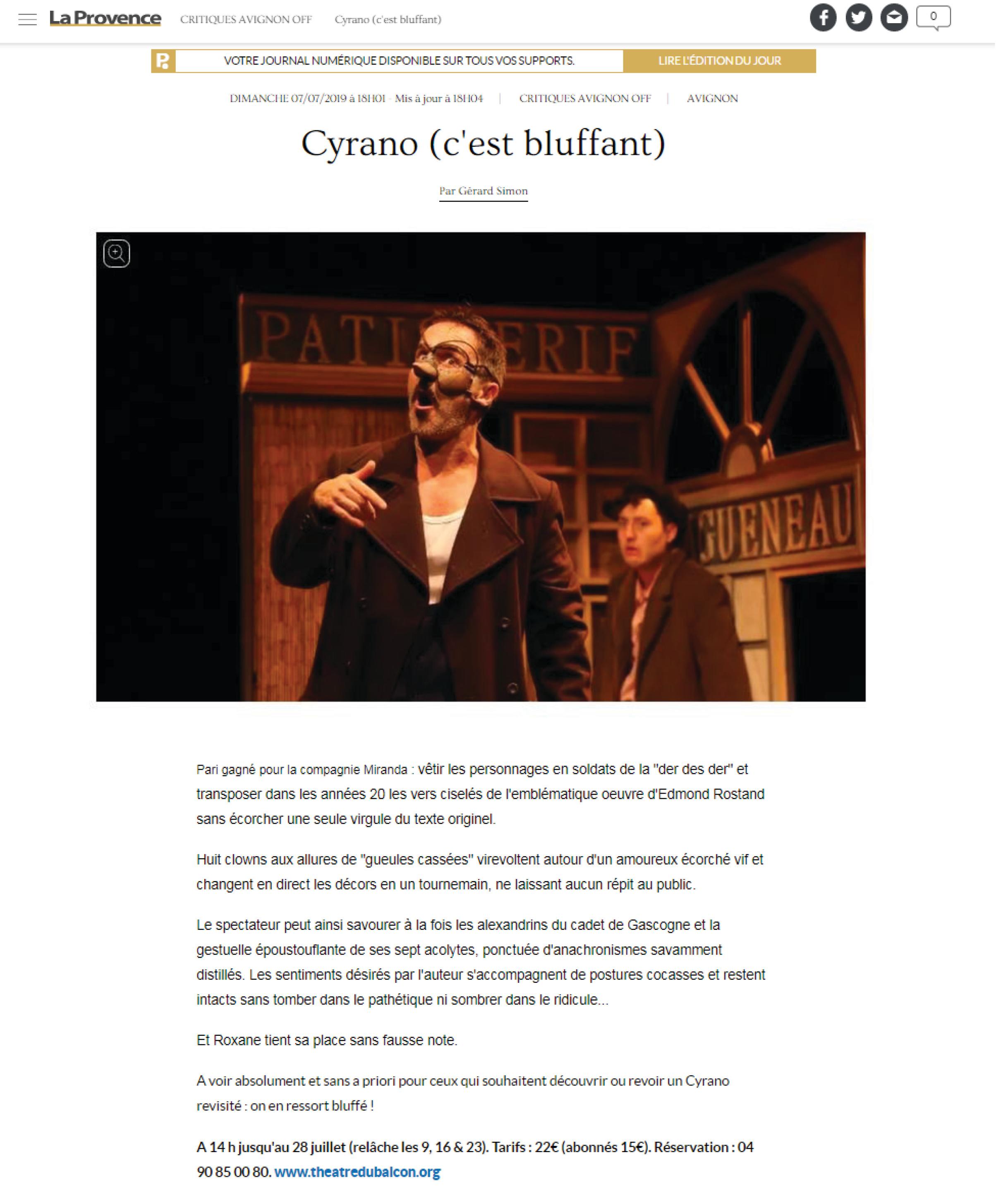 La Provence - Avignon 2019 - Cyrano