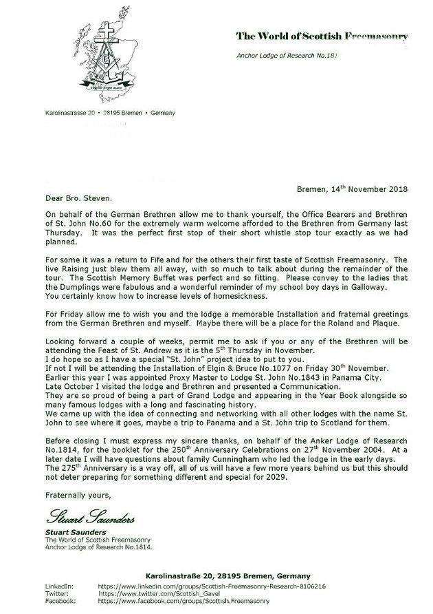 Letter of thanks  | Lodge St John 60 | Fife | Stjohn60