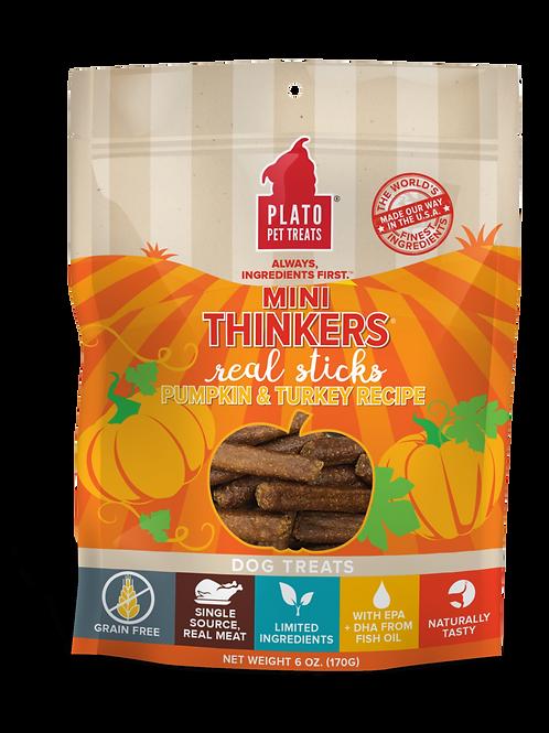 Plato Mini Thinkers Grain Free Pumpkin & Turkey Meat Stick Dog Treats 3oz