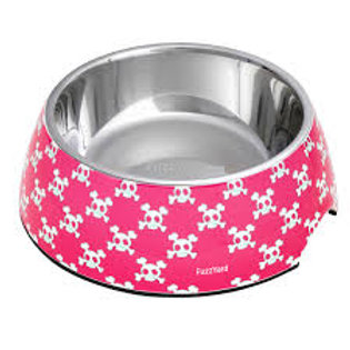 FuzzYard Bad to the Bone Easy Feeder Pet Bowl - Pink