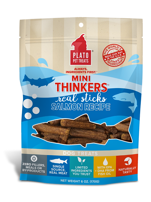 Plato Mini Thinkers Salmon Meat Stick Dog Treats 2.5oz