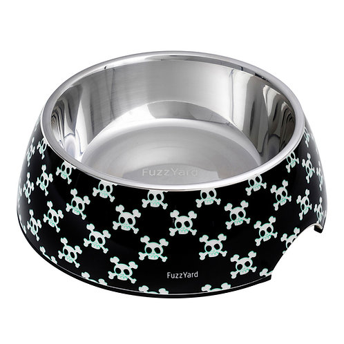 FuzzYard Bad to the Bone Easy Feeder Pet Bowl - Black