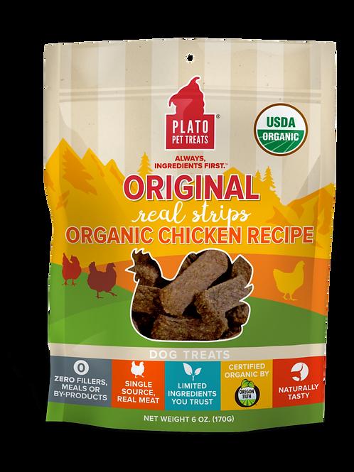 Plato Real Strips Organic Chicken Meat Bar Dog Treats 3oz