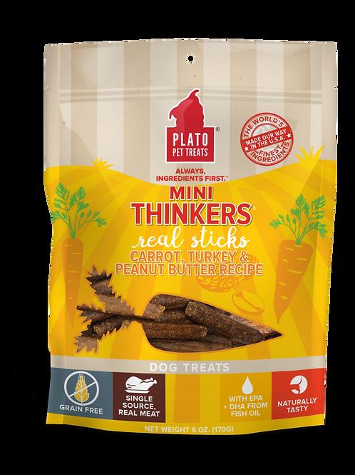 Plato  Mini Thinkers Grain Free Carrot, Turkey & Peanut Butter Meat Stick Dog Tr