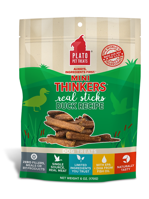 Plato Mini Thinkers Duck Meat Stick Dog Treats 3oz