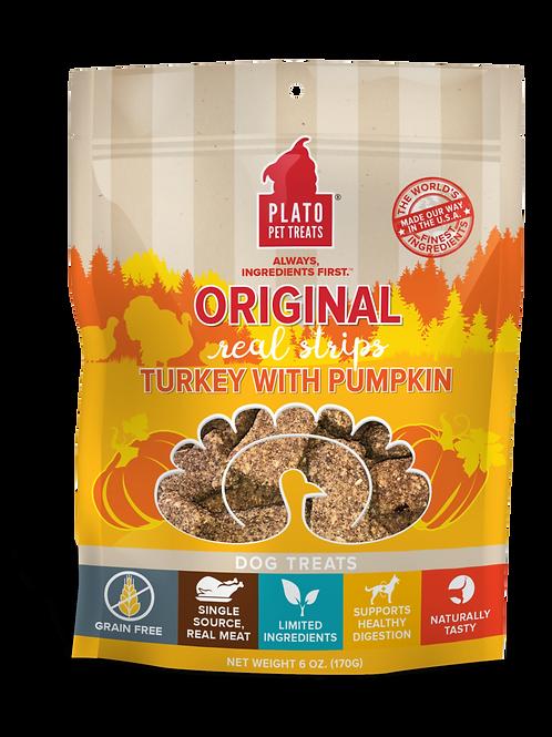 Plato Real Strips Turkey With Pumpkin Meat Bar Dog Treats 3oz