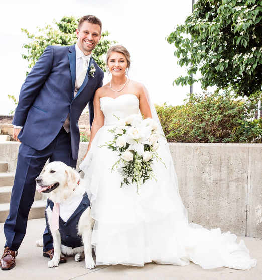 Josh and I's wedding day (and other dog - Aspen)