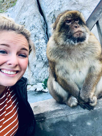 Hanging out with a monkey in the tiny country of Gibraltar