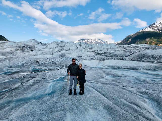 Josh and I exploring a glacier in Alaska