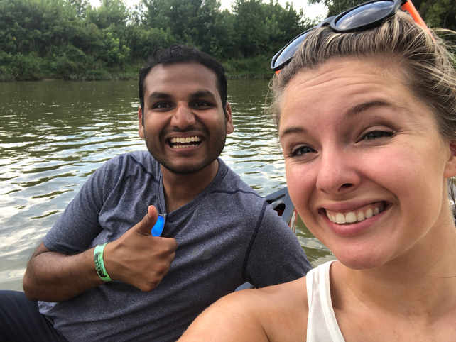 Canoeing with my friend Nikhil and others