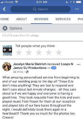 Cambridge wedding review on Loops N Jamzz