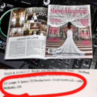 DJ featured in the Wedding Ring Magazine for Waterloo, Kitchener, Stratford, Ontario.