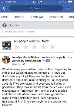 Kitchener Waterloo wedding DJ review from bride forLoops N Jamzz