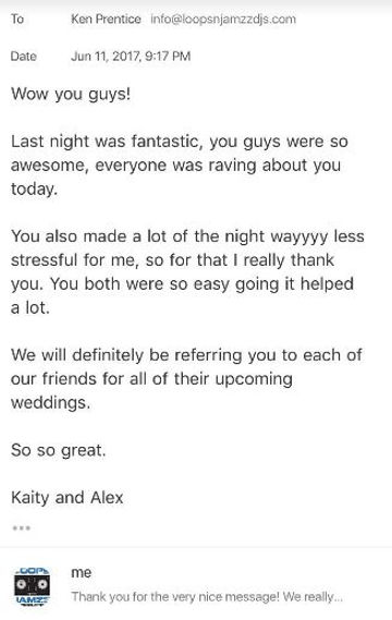 Wedding review from SCC Stratford, Ontario couple
