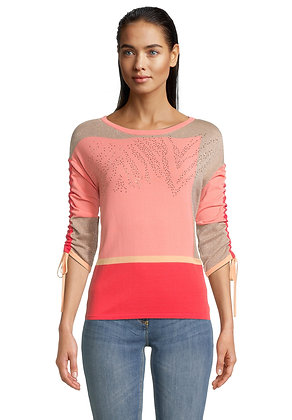 Betty Barclay Sweater With Ruched Sleeves -Camel/Rose/Red