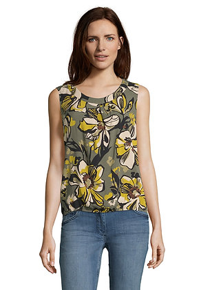 Betty Barclay Sleevless Floral Print Blouse - Olive