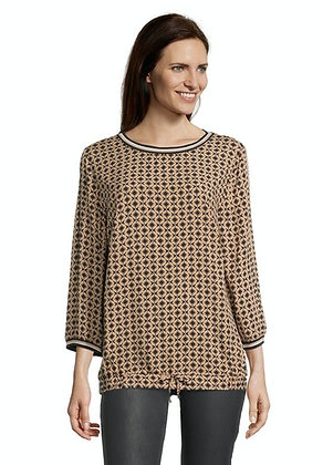 Betty Barclay Printed Blouse - Camel/Black