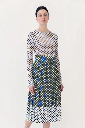 Arthur Arbesser Printed Contrast Plisse Skirt - Green/White
