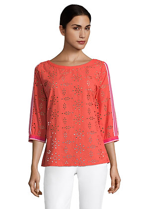 Betty Barclay Contrast Lace Blouse - Cayenne Red