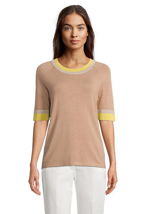 Betty Barclay Contrast Sweater - Bright Yellow/Beige