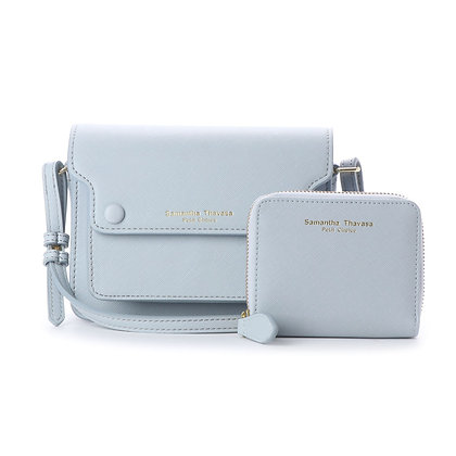 Samantha Thavasa Petit Choice Dusty Pastel Duo Mini Bag Wallet Set - Blue