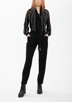 Vivienne Tam Netting Ruffle Merrow Stitching Top - Black/Beige