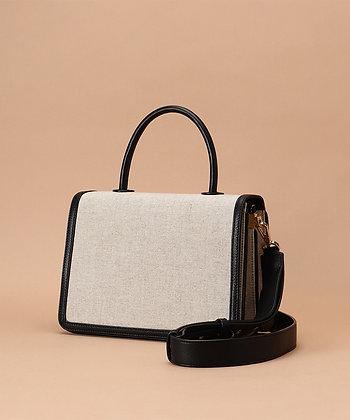 Samantha Thavasa Monique Top Handle Bag - Black/Linen
