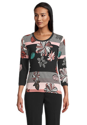 Betty Barclay Black/Pink Floral Blouse