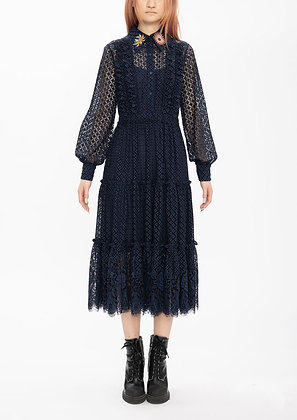 Vivienne Tam Mini Scholars Rock Embroidery Badges Lace Dress - Navy