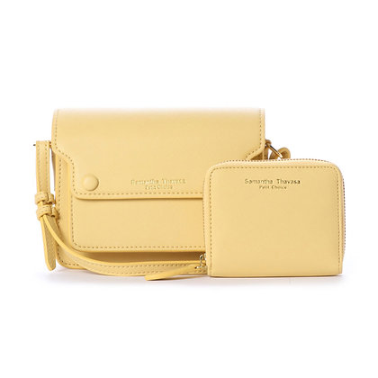 Samantha Thavasa Petit Choice Dusty Pastel Duo Mini Bag Wallet Set - Yellow