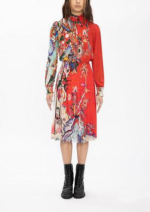 Vivienne Tam Scholars Rock Netting High Collar Dress - Red