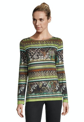 Betty Barclay Brown/Green Printed Long Sleeve Blouse