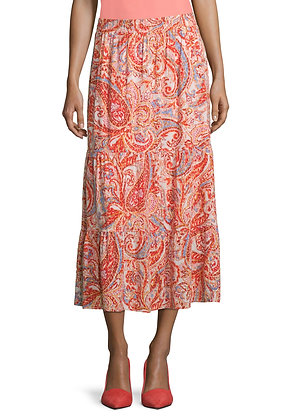 Betty Barclay Printed Midi Skirt - Red/Rose