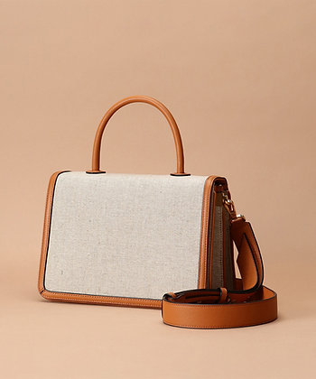 Samantha Thavasa Monique Top Handle Bag - Camel/Linen